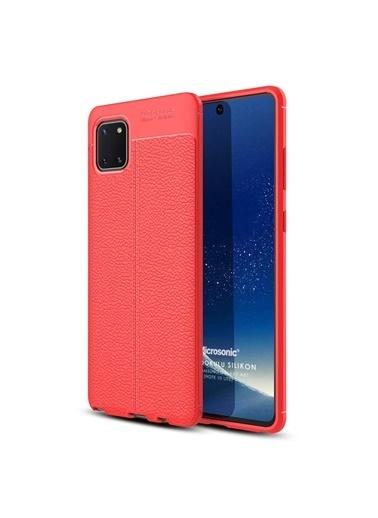 Microsonic Samsung Galaxy Note 10 Lite Kılıf Deri Dokulu Silikon Kırmızı Kırmızı